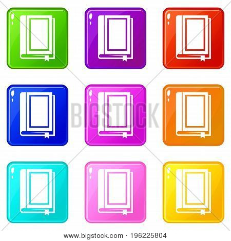 Book icons of 9 color set isolated vector illustration