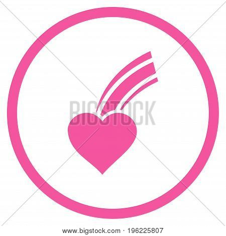 Falling Heart rounded icon. Vector illustration style is flat iconic symbol inside circle, pink color, white background.
