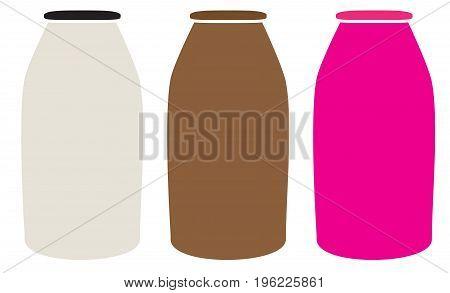 milk bottles icon on white background. milk bottles sign. flat style design.