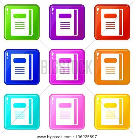 Tutorial icons of 9 color set isolated vector illustration