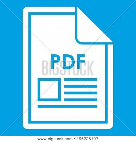 File PDF icon white isolated on blue background vector illustration