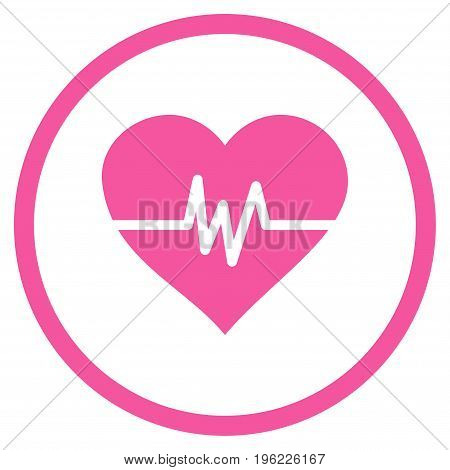 Heart Pulse rounded icon. Vector illustration style is flat iconic symbol inside circle, pink color, white background.