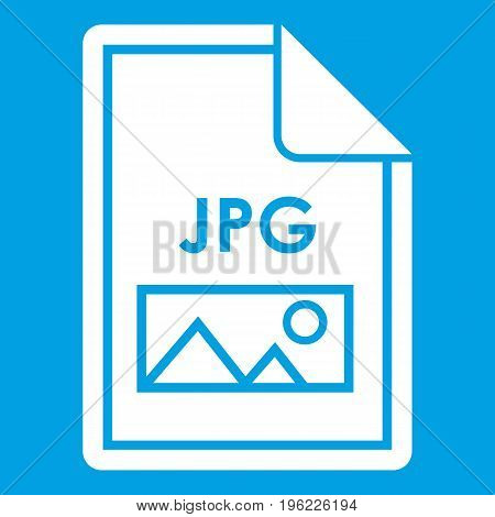 File JPG icon white isolated on blue background vector illustration