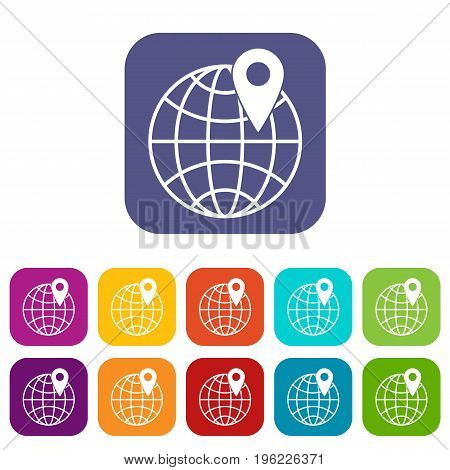 Globe with pin icons set vector illustration in flat style in colors red, blue, green, and other
