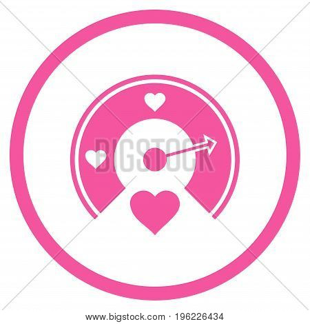 Love Gauge rounded icon. Vector illustration style is flat iconic symbol inside circle, pink color, white background.