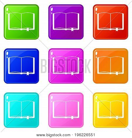 Open book with bookmark icons of 9 color set isolated vector illustration