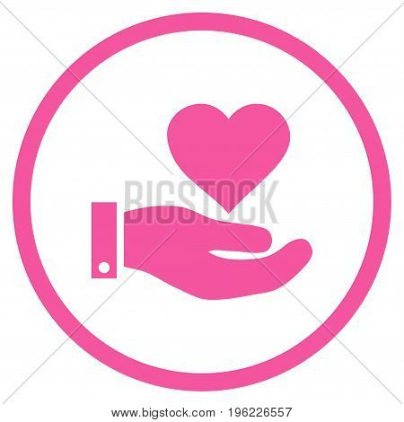 Love Heart Offer Hand rounded icon. Vector illustration style is flat iconic symbol inside circle, pink color, white background.