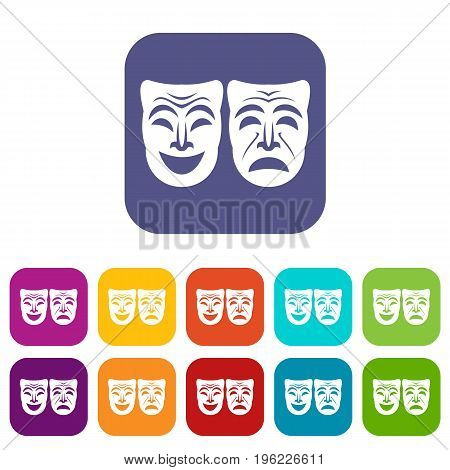 Happy and sad mask icons set vector illustration in flat style in colors red, blue, green, and other