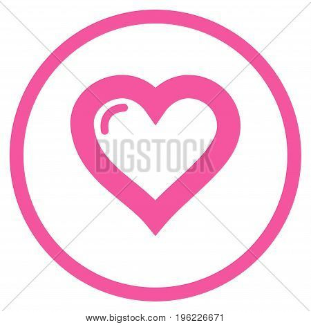 Love Heart rounded icon. Vector illustration style is flat iconic symbol inside circle, pink color, white background.
