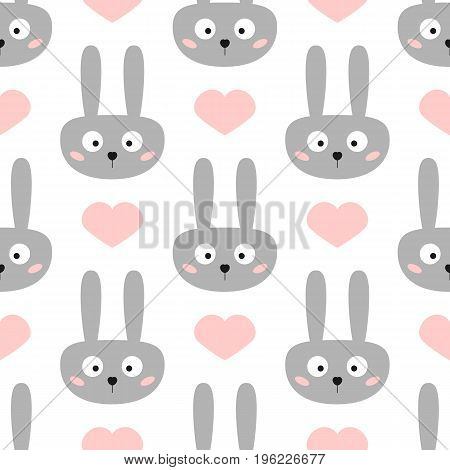 Head of funny rabbit with big eyes. Cute hearts. Seamless pattern for children. Vector illustration. White pink dark gray.