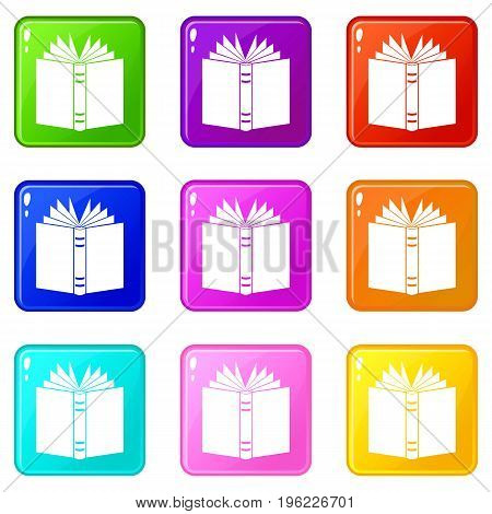 Open thick book icons of 9 color set isolated vector illustration