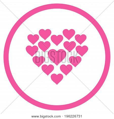 Love Hearts Shape rounded icon. Vector illustration style is flat iconic symbol inside circle, pink color, white background.