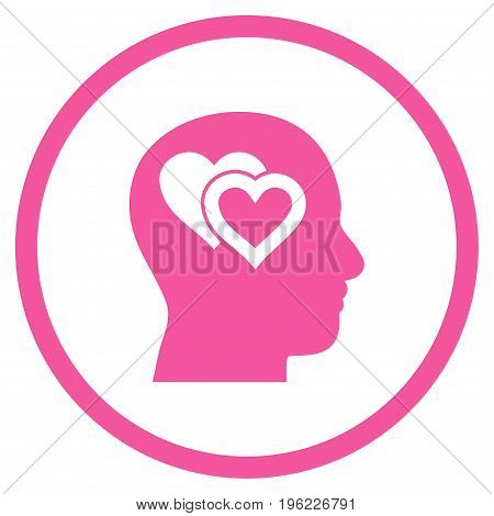 Love In Mind rounded icon. Vector illustration style is flat iconic symbol inside circle, pink color, white background.