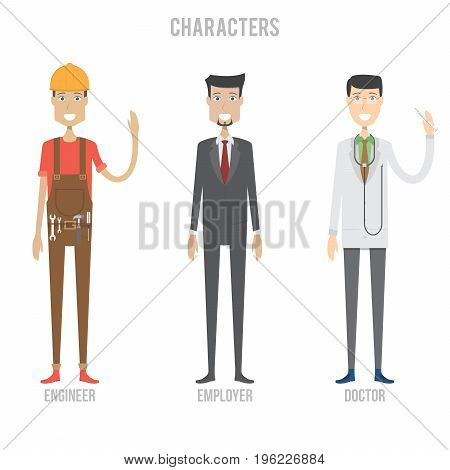 Character Set include engineer, employer and doctor | set of vector character illustration use for human, profession, business, marketing and much more.The set can be used for several purposes like: websites, print templates, presentation templates, and p