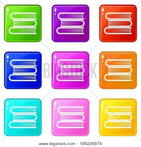 Three tutorial icons of 9 color set isolated vector illustration
