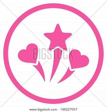 Lovely Fireworks rounded icon. Vector illustration style is flat iconic symbol inside circle, pink color, white background.
