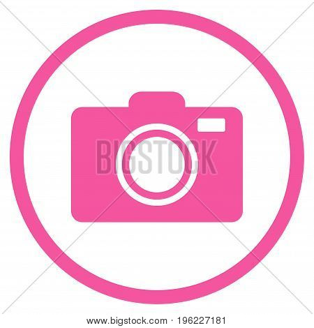 Photo Camera rounded icon. Vector illustration style is flat iconic symbol inside circle, pink color, white background.