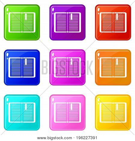 Open tutorial with bookmark icons of 9 color set isolated vector illustration