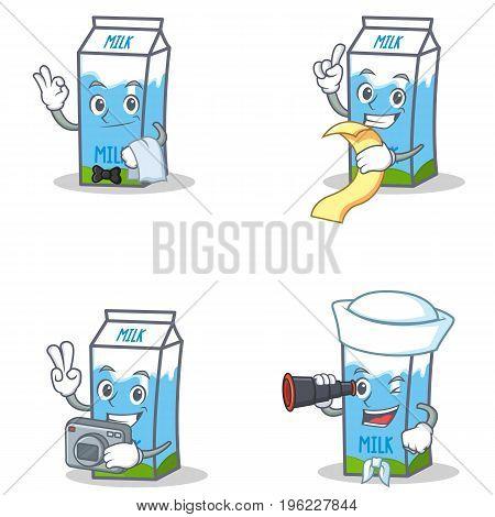 Set of milk box character with waiter menu photo binocular vector illustration