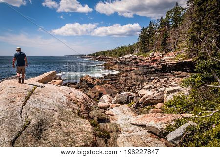 A man walks on large boulder surrounded by rocky shoreline and forest during a hike on a beautiful summer day