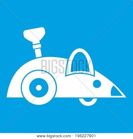 Clockwork mouse icon white isolated on blue background vector illustration