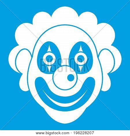 Clown icon white isolated on blue background vector illustration