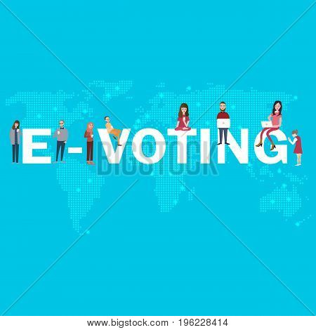 e-voting online poll electronic election internet digital democracy for young people vector
