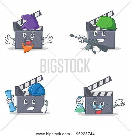 Set of movie clapper character with elf army architect professor vector illustration