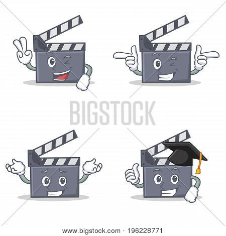 Set of movie clapper character with two finger wink graduation vector illustration