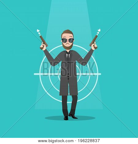 man holding two guns serious gangster criminal mafia wearing suit and glasses vector