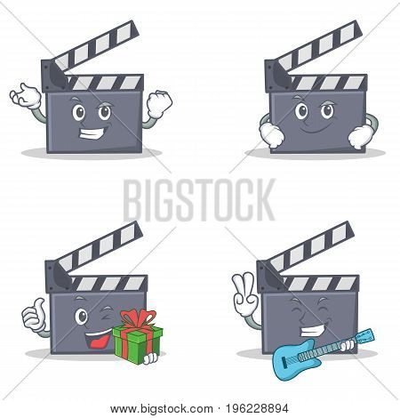 Set of movie clapper character with successful smirking gift guitar vector illustration