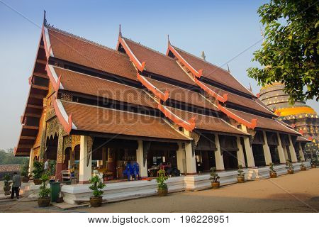 Lampang Thailand - March 17 2016: Wat Phra That Lampang Luang. Lanna style temple