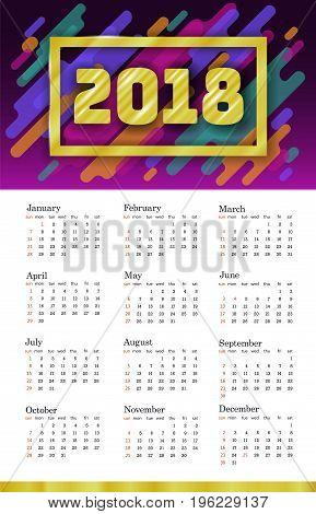 2018 Calendar Template. Week starts Sunday. Set of 12 Months. Portrait vertical orientation. Disco Colorful Trendy Motion Shapes Dynamic Design Vector illustration art