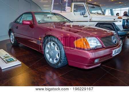 STUTTGART GERMANY- MARCH 19 2016: Sports car Mercedes-Benz 500SL (R129). In 1991 this car was acquired Princess Diana of Wales. Mercedes-Benz Museum.
