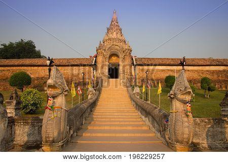 Stairway to Wat Phra That Lampang Luang. Lanna style temple