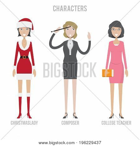Character Set include christmaslady, composer and college teacher   set of vector character illustration use for human, profession, business, marketing and much more.The set can be used for several purposes like: websites, print templates, presentation te
