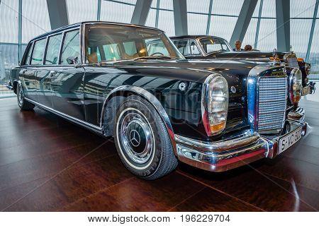 STUTTGART GERMANY- MARCH 19 2016: Mercedes-Benz 600 Pullman state limousine 1965. Mercedes-Benz Museum.