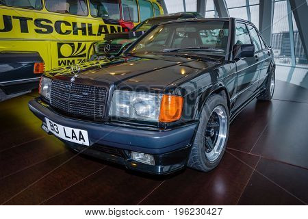 STUTTGART GERMANY- MARCH 19 2016: Compact executive car Mercedes-Benz 190E 2.3 AMG (W201) 1984. The owner of Ringo Starr (ex-musician and drummer of the Beatles). Mercedes-Benz Museum.
