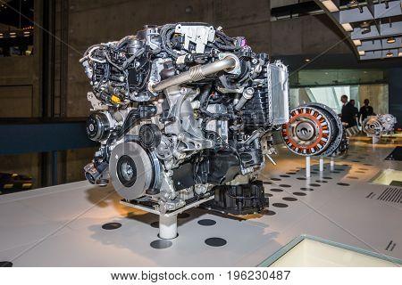 STUTTGART GERMANY- MARCH 19 2016: A modern engine. Mercedes-Benz Museum.
