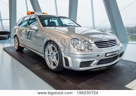 STUTTGART GERMANY- MARCH 19 2016: Official F1 Medical car Mercedes-Benz C55 AMG 2005. Mercedes-Benz Museum.