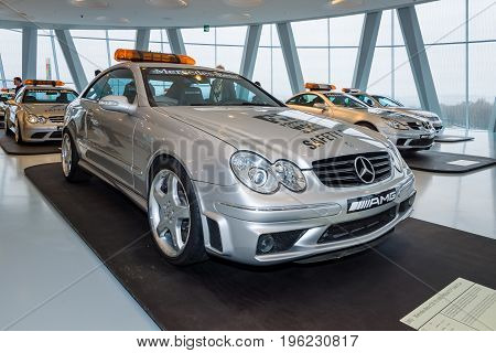 STUTTGART GERMANY- MARCH 19 2016: Official F1 Safery car Mercedes-Benz CLK55 AMG 2003. Mercedes-Benz Museum.