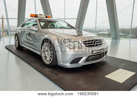 STUTTGART GERMANY- MARCH 19 2016: Official F1 Safery car Mercedes-Benz CLK63 AMG 2007. Mercedes-Benz Museum.