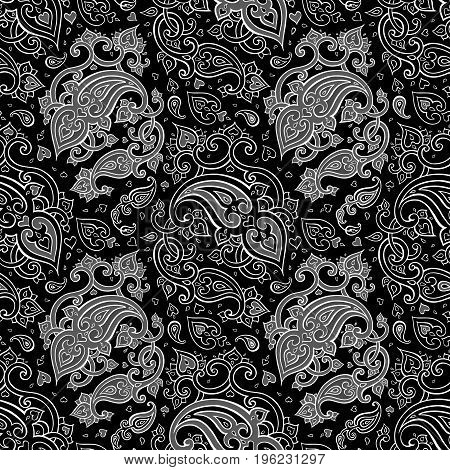 Paisley Beautiful silver seamless background. Elegant Hand Drawn vintage Pattern
