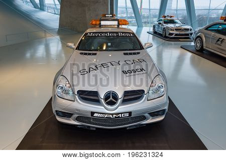 STUTTGART GERMANY- MARCH 19 2016: Official DTM Safery car Mercedes-Benz SLK55 AMG 2005. Mercedes-Benz Museum.