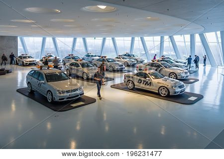 STUTTGART GERMANY- MARCH 19 2016: Official F1 and DTM series Medical and Safety of Mercedes-Benz AMG cars. Mercedes-Benz Museum.