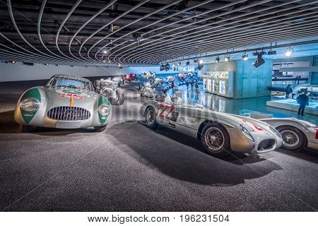 STUTTGART GERMANY- MARCH 19 2016: Gallery of sports and racing cars of different classes. HDRi. Mercedes-Benz Museum.