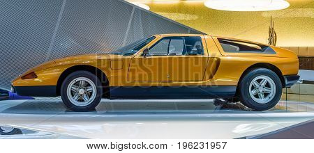 STUTTGART GERMANY- MARCH 19 2016: Experimental car Mercedes-Benz C111-II 1970. Mercedes-Benz Museum.
