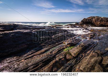 Scenic rocky shoreline in La Verna Preserve in Bristol, Maine, on a beautiful summer day