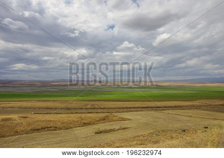 Arpacay (akhourian ) Resrvoir In The Border Of Turkey And Armenia. View Form Armenia Side..