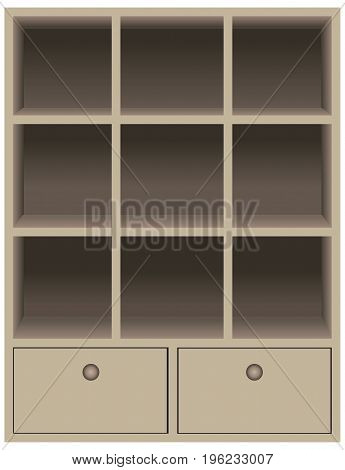 Rustic dark brown wood shadow box. Wall mounted cubby storage with 2 drawers
